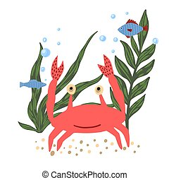 Composition crab with fish and seaweed isolated on white background. Cartoon cute red color in doodle.