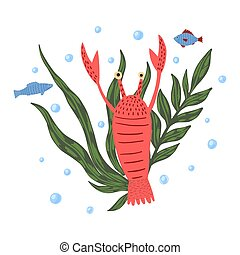 Composition crayfish with fish and seaweed isolated on white background. Cartoon cute red color in doodle.