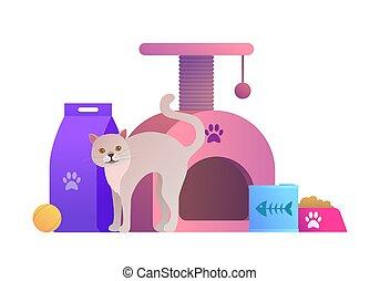 composition, dessin animé, magasin, animal, chat