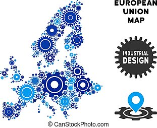 Composition European Union Map of Gears