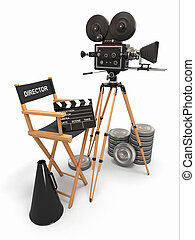 composition., filmdirektor, fotoapperat, weinlese, reels., stuhl