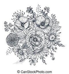 composition., fleurs, bouquet, main, floral, dessiné, plants.