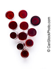 Composition from glasses with red wine in the form of a ...