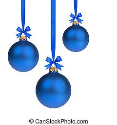 composition from three blue christmas balls hanging on ...