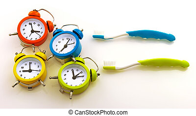 Composition from toothbrushes and colorful clocks