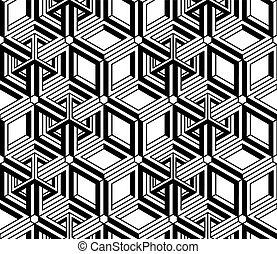 composition., grafisch, intertwine, model, symmetrisch, optisch, monochroom, geometrisch, design., eindeloos