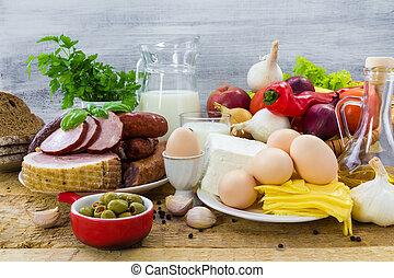 Composition grocery products dairy vegetables fruits meat