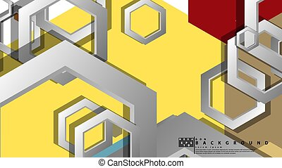 composition., hexagone, fond, illustration, milieu, résumé, ...