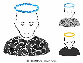 composition, homme, saint, parties, icône, inégal