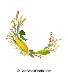 Composition in the form of a half ring of ears of corn and corn. Vector illustration.
