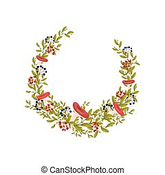Composition in the form of a semicircle of the branches of bushes with leaves. Vector illustration on white background.