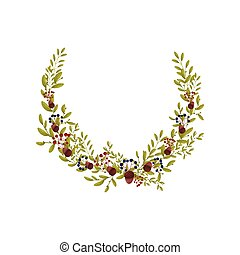 Composition in the form of a semicircle of thin branches of bushes. Vector illustration on white background.