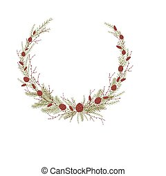 Composition in the form of a semicircle of thin branches of shrubs and spruce. Vector illustration on white background.