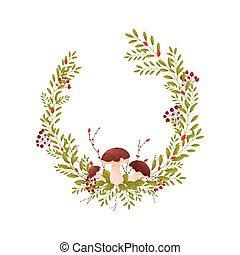 Composition in the form of a semicircle of thin branches with rare leaves. Vector illustration on white background.