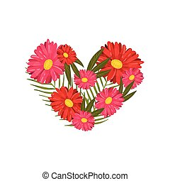 Composition in the shape of a heart from gerberas. Vector illustration on white background.