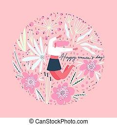 composition, international, fleurs, day., s, femmes