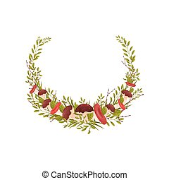 Composition is in the form of a semicircle of thin branches of bushes with leaves. Vector illustration on white background.