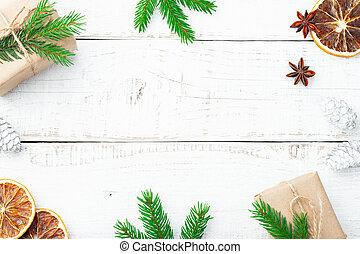 composition., jodła, gałęzie, płaski, drewniany, stożki, przestrzeń, sosna, dar, górny, tło., prospekt, biały, kopia, pieśń, boże narodzenie