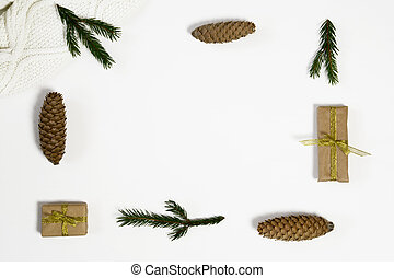 composition., jodła, gałęzie, płaski, koc, przestrzeń, sosna, dar, górny, tło., trykotowy, prospekt, biały, kopia, stożki, pieśń, boże narodzenie