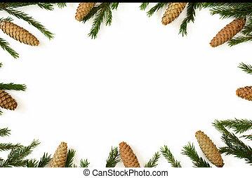 composition., jodła, gałęzie, płaski, stożki, przestrzeń, odizolowany, sosna, boże narodzenie, górny, tło., prospekt, świeży, biały, kopia, pieśń