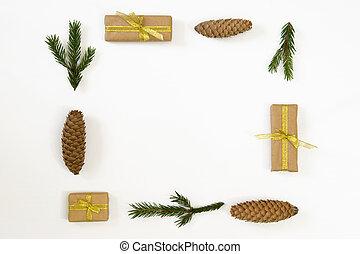 composition., jodła, gałęzie, płaski, stożki, przestrzeń, sosna, dar, górny, tło., prospekt, biały, kopia, pieśń, boże narodzenie