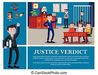 composition, judiciaire, plat, système