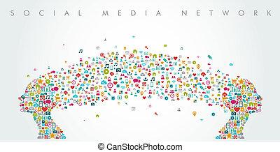 composition., köpfe, vernetzung, medien, form, sozial, eps10, file., frauen