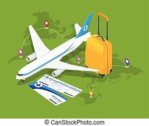 composition., lakás, isometric, illustration., idegenforgalom, utazás, háttér., vektor, repülő, világ, 3, transzparens, concept., design.