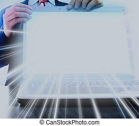 composition., laptop, użyteczny, ekran, czysty