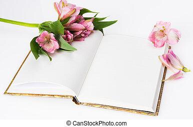 composition., másol, szeret, hely, eredet, valentines nap, flowers., napló, háttér, friss, fehér, anya nap
