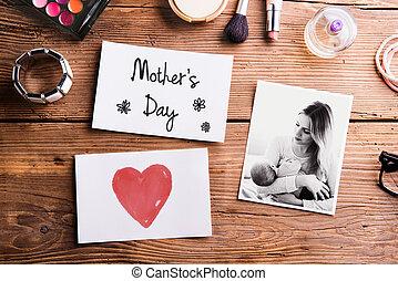 composition., mães, mãe, quadro, note., bebê, dia