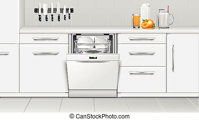 composition, machine, cuisine, dishwashing