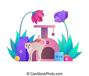 composition, magasin, animal, dessin animé, chat