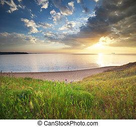 composition., marine, coucher soleil