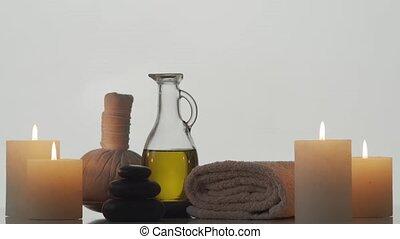 composition., masseren, spa, aromatherapy, behandeling, ...