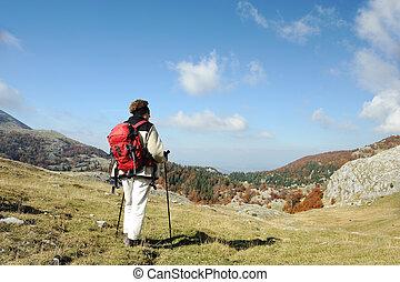 composition., meisje, mountain., piek, landscape