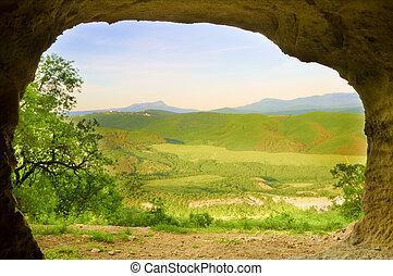 composition., montaña, cueva, sunrise., naturaleza