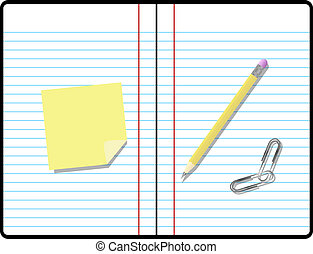 Composition Notebook with Pencil, Paper and Sticky Note with Room for your Text