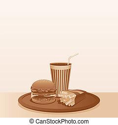 composition., nourriture, vendange, jeûne, vecteur, fond