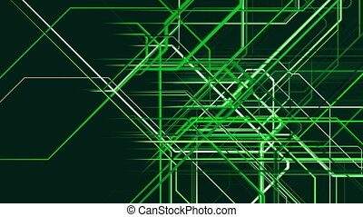 Composition of abstract moving grid lines in green