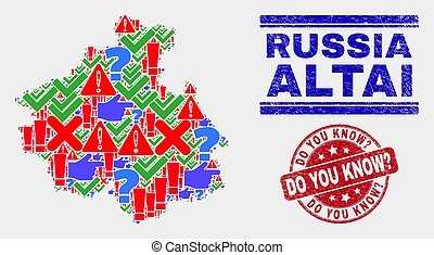Composition of Altai Republic Map Sign Mosaic and Distress Do You Know? Stamp