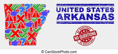 Composition of Arkansas State Map Symbol Mosaic and Scratched No Questions Stamp