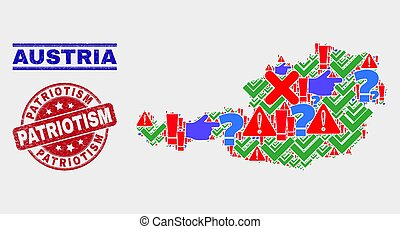 Composition of Austria Map Sign Mosaic and Distress Patriotism Stamp Seal