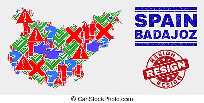 Composition of Badajoz Province Map Sign Mosaic and Grunge Resign Stamp