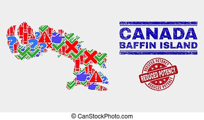 Composition of Baffin Island Map Symbol Mosaic and Scratched Reduced Potency Seal