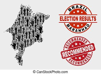 Composition of Ballot Maranhao State Map and Scratched Recommended Stamp Seal