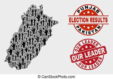 Composition of Ballot Punjab Province Map and Grunge Our Leader Seal