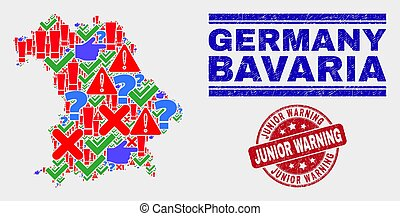 Composition of Bavaria Land Map Symbol Mosaic and Distress Junior Warning Stamp