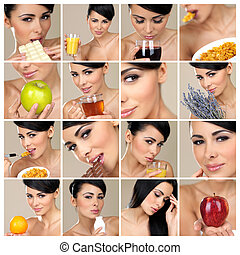 Composition of beautiful brunette portraits with multiple...