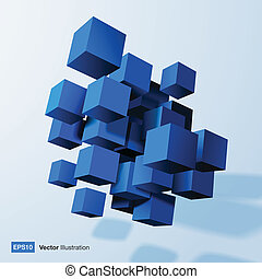 Composition of blue 3d cubes.